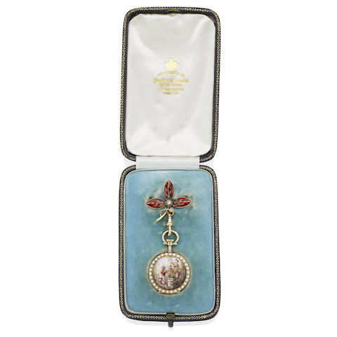 A lady's late 19th century enamel and pearl fob watch