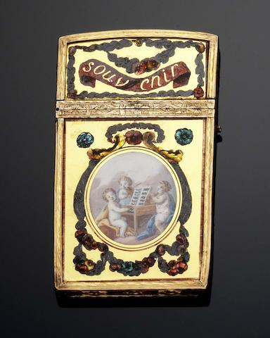 A Louis XVI verre eglomisé and gold mounted aide memoir Maker's mark illegible, Paris 1774