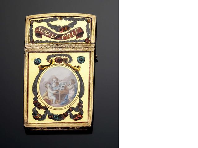 A Louis XVI verre eglomisé and gold mounted aide memoir Maker's mark illegible, Paris 1774