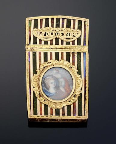 A Louis XVI vernis Martin and gold-mounted aide memoir, Maker and date letter illegible, Paris circa 1768-75