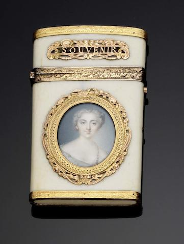 A Louis XVI gold, silver-gilt and ivory mounted aide-memoir The hinge mount with the discharge mark of Tax Farmer Henri Clavel, Paris circa 1781-83