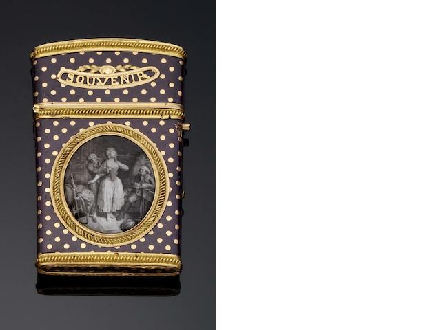A Louis XVI enamel and gold mounted aide memoir By Pierre-Denis Chaumont, Paris 1782