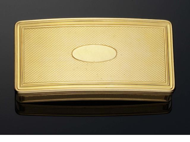 A late 18th century French gold snuff box By Victoire Blerzy, with the unofficial post-Revolutionary baby's head mark as well as the post 1798 marks and the later control marks, the flange incuse stamped 175