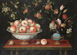 A pair of still-life paintings,comprising,flowers, apples, granades, pears with vases and plates(2)