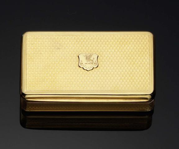 A George III 18 carat gold snuff box By A J Strachan, London 1813