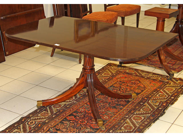 A mahogany triple pedestal dining table,
