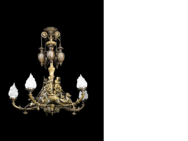 A Victorian exhibition quality gilt and patinated bronze colza chandelier by Thomas Messenger, dated 1867
