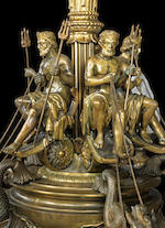 A Victorian exhibition quality gilt and patinated bronze gasolierby Thomas Messenger, dated 1867 and possibly exhibited at The Paris Universal Exhibition of the same year