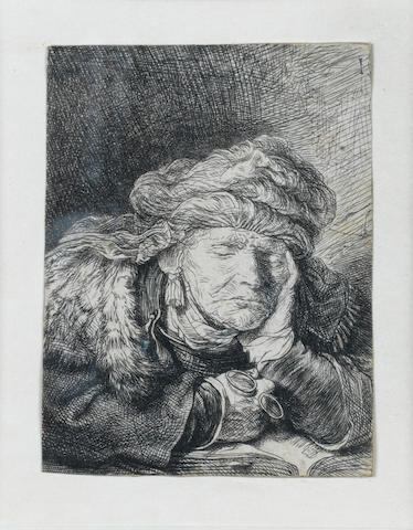 Rembrandt Harmensz van Rijn (Dutch, 1606-1669) Old Woman Sleeping Etching, 1635, a good impression of the only state, on laid, trimmed just inside the platemark, 68 x 51mm (2 3/4 x 2 1/8in)(PL)