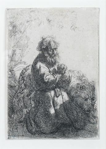 Rembrandt Harmensz van Rijn (Dutch, 1606-1669) St Jerome Kneeling in Prayer, Looking Down Etching, 1635, the only state, on laid, with thread margins, 114 x 80mm (4 1/2 x 3 1/8in)(PL)
