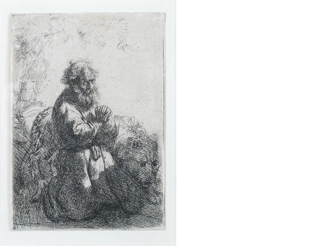 Rembrandt Harmensz van Rijn (Dutch, 1606-1669) St Jerome Kneeling in Prayer, looking down Etching, 1635, first state of three, on laid, 114 x 80mm