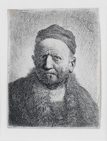 Rembrandt Harmensz van Rijn (Dutch, 1606-1669) Man wearing a close cap: Bust (The Artist's Father?) Etching, 1630, the final fifth state, with the plate cut down to the head and shoulders and evened off along the left edge, with diagonal shading on the left shoulder, on laid, with thread margins, 75 x 60mm (2 7/8 x 2 3/8in)(PL)