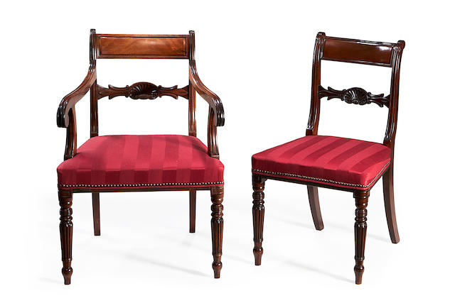 A matched set of twelve Regency and later mahogany dining chairs
