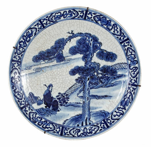 A 19th century Chinese blue and white crackle glaze charger
