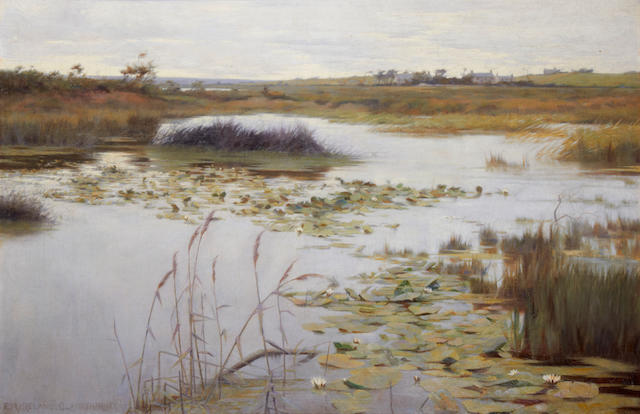 Ernest R. Ireland Blackburne (British, 1864-1947) A lily pond