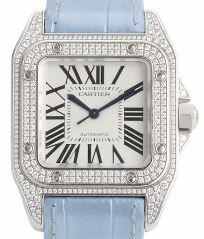 Cartier. An 18ct white gold diamond set automatic wristwatch Santos, Case No.82414LX, Recent