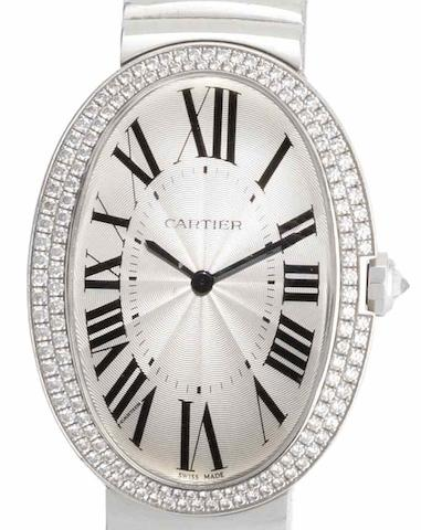 Cartier. An 18ct white gold manual wind bracelet watch Bagnoire, Case No.85468PX, Recent