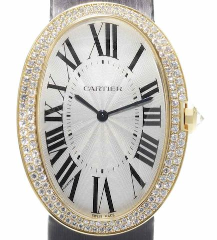 Cartier. A large 18ct gold diamond set manual wind wristwatch Bagnoire, Ref:3031, Case No.87306PX, Recent