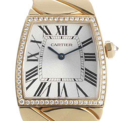 Cartier. A lady's 18ct rose gold diamond set bracelet watch La Dona, Ref:2896, Case No.117448LX, Recent