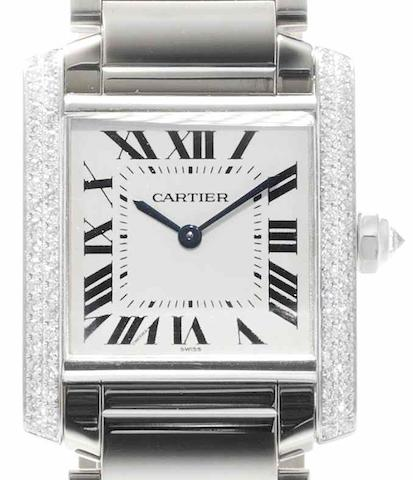 Cartier. An 18ct white gold and diamond set quartz bracelet watch Tank, Case No.295006MG, Recent