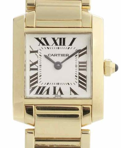 Cartier. An 18ct gold quartz bracelet watch Tank, Case No.CC305738, Recent