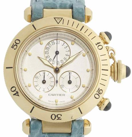 Cartier. An 18ct gold quartz chronograph wristwatchPascha de Cartier, Recent