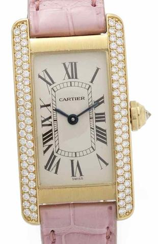 Cartier. An 18ct gold diamond set quartz wristwatchTank Americaine, Case No.CC337538, Recent