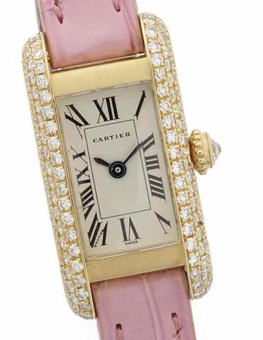 Cartier. An 18ct gold diamond set wristwatch Tank Americaine, Case No.828006, Recent