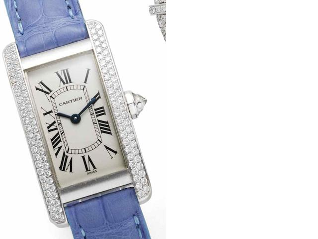 Cartier. An 18ct white gold quartz wristwatch Tank Americaine, Case No.CC394071, Recent