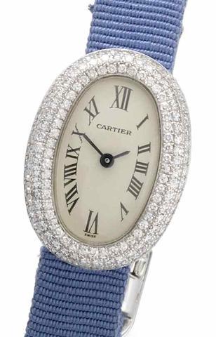 Cartier. An 18ct white gold diamond set wristwatch Bagnoire, Recent
