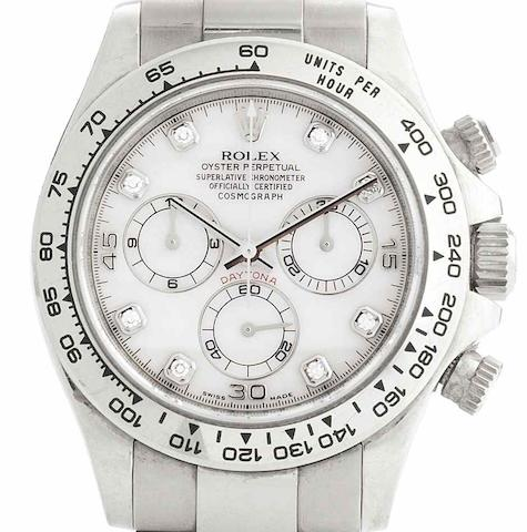 Rolex. An 18ct white gold automatic chronograph bracelet watchCosmograph Daytona, Ref:116528, Serial No.Z858***, Sold 10th December 2007