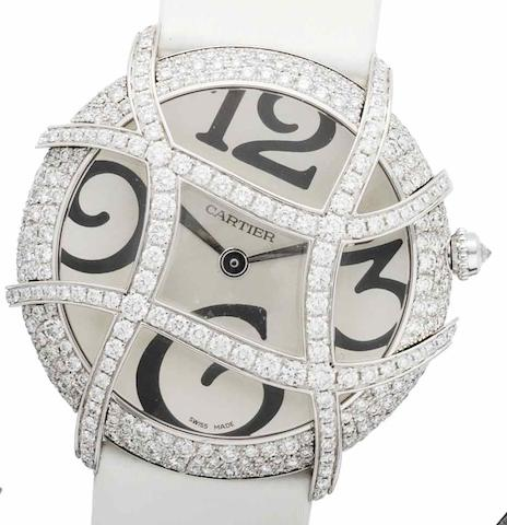 Cartier. An 18ct white gold diamond set wristwatchPascha de Cartier Cage, Recent