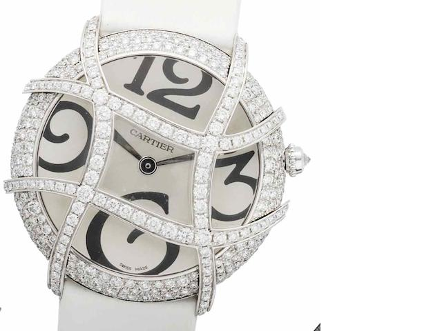 Cartier. An 18ct white gold diamond set wristwatch Pascha de Cartier Cage, Recent
