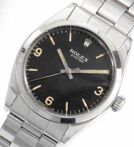 Rolex. A rare stainless steel manual wind bracelet watch with black dial Oyster, Ref:6429, Serial No.2005***, Circa 1967