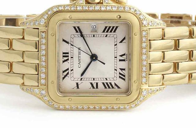 Cartier. An 18ct gold and diamond set quartz calendar bracelet watchPanthere, Circa 1995
