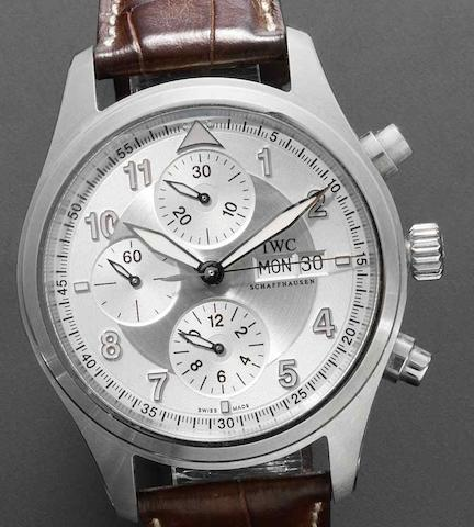 IWC. A stainless steel chronograph wristwatch together with fitted box and papers Fliegeruhr Ref:3706, Sold 22nd March 2007