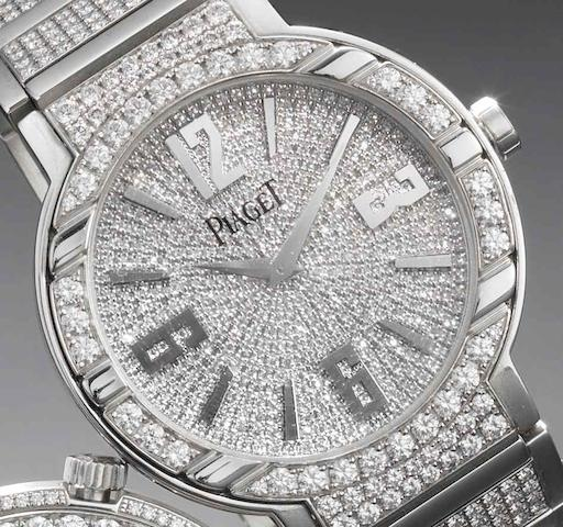Piaget. A very fine and rare 18ct white gold diamond set bracelet watch Polo Automatique, Ref:GOA36226, Recent