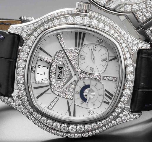 Piaget. A fine and rare 18ct white gold diamond set automatic calendar wristwatch with dual time zoneEmperador, GOA32018, Recent