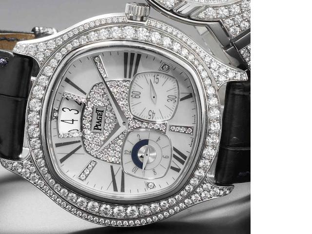 Piaget. A fine and rare 18ct white gold diamond set automatic calendar wristwatch with dual time zone Emperador, GOA32018, Recent