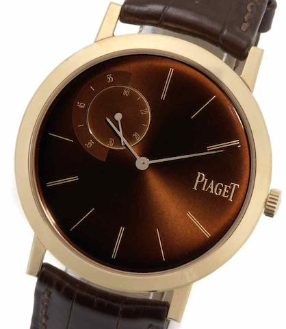 Piaget. An 18ct rose gold manual wind wristwatchAltiplano, GOA34113, No.3/200, Recent