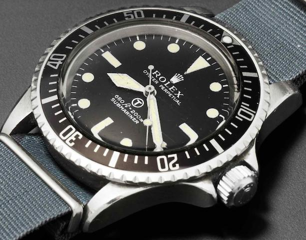 Rolex. A stainless steel automatic centre seconds military issue wristwatchSubmariner, Ref:5513, Serial No.3764***, Issued 1974