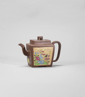 An Yixing stoneware 'flower and stone' teapot and cover Republican period