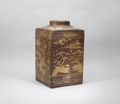 An Yixing stoneware slip-decorated canister Qing dynasty