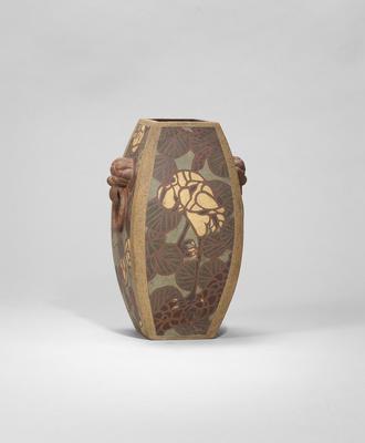 An Yixing stoneware 'cranes' vase Republican, signed Ge Jinsong