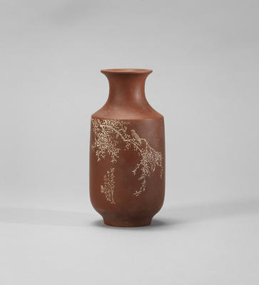 An Yixing stoneware 'magpies and willow' vase Signed Ren Janting and Xu Xiutang