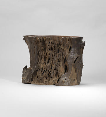 An Yixing stoneware 'tree trunk' flower pot Qing dynasty