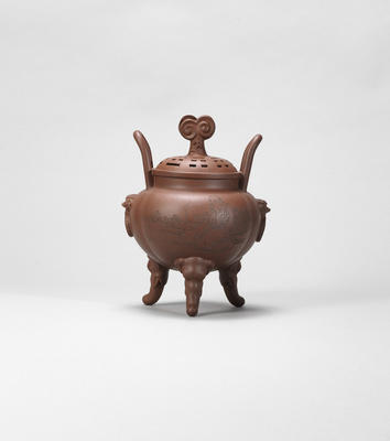 An Yixing stoneware incense burner and cover Late Qing dynasty / early Republican period