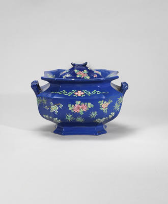 An Yixing stoneware enamelled tureen and cover Qing dynasty