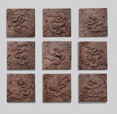 A set of nine dragons wall panels Contemporary, signed Xiao Quandi and Zhang Huanquan