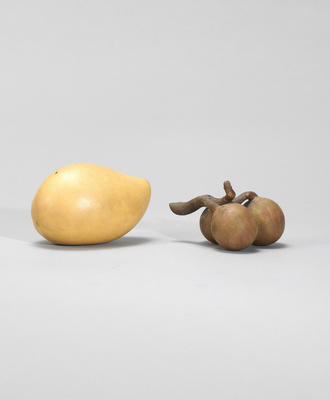 An Yixing stoneware 'loquat' and 'mango' water dropper Contemporary, signed Jiang Rong